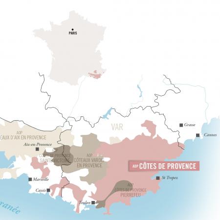 carte Côtes de Provence + france sans encadré